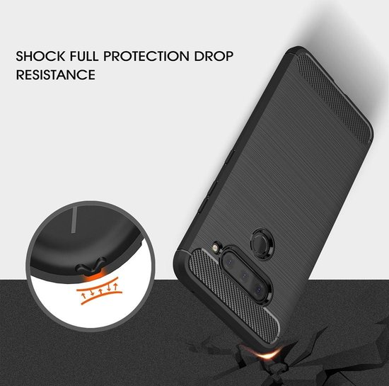Mobigear Brushed Carbon Fiber Shockproof Hoesje Navy Blauw LG V40 ThinQ