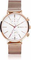 ZINZI Traveller ZIW708M  rosé-goudkleurig dual time +  gratis Zinzi armbandje