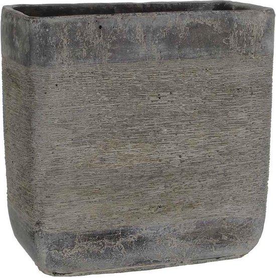 Mica Decorations rechthoekige pot kane maat in cm: 28 x 14 x 28 donkergrijs - DONKERGRIJS