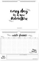 Weekplanner A4 Zwart Wit - Met ophanghaakje - DesignClaud