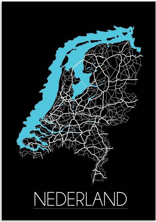 Plattegrond Nederland Landkaart poster DesignClaud - Zwart - A3 + Fotolijst wit