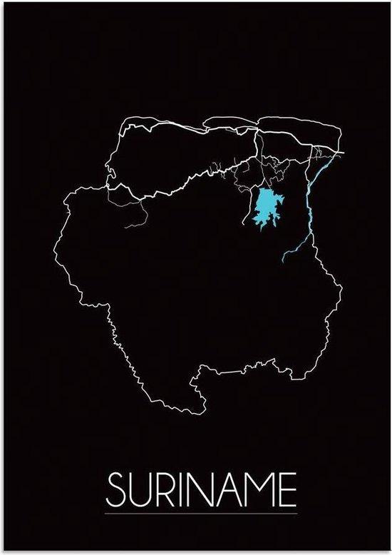 Plattegrond Suriname Landkaart poster DesignClaud - Zwart - A4 poster