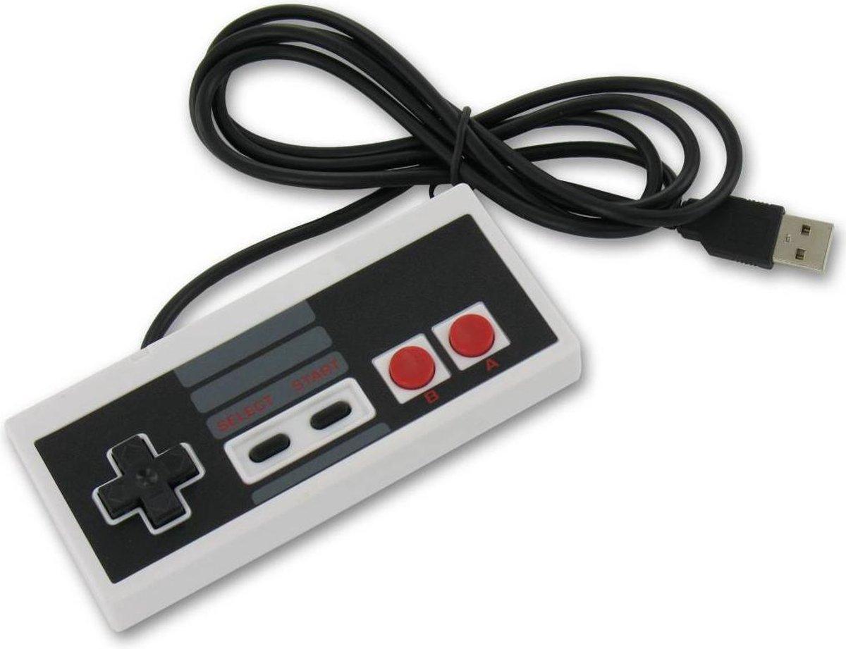 Dolphix Nintendo (NES) style USB controller voor PC, notebook en emulator / grijs/zwart – 1,35 meter
