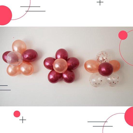 SALE | Bloemenmix set/bordeaux rood/20 helium ballonnen/eco-friendly/Groot:30cm/3 bloemenclips/ Verjaardag, bruiloft, babyshower, versiering
