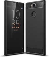 Mobigear Brushed Carbon Shockproof Hoesje Zwart Sony Xperia XA2 Plus