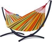 Hangmat met standaard – 2 persoons – frame verzinkt staal grafiet – doek oranje – Potenza