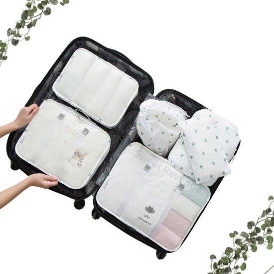 Travel cubes - Packing Cubes Set 6-delig - Vakantie - Praktisch - Koffer accessoires - Opbergtassen - Opbergzakken - Reistas - Kleding organizer - Travel bags - Onbezorgd en georganiseerd reizen - Wit-Cactus patroon -