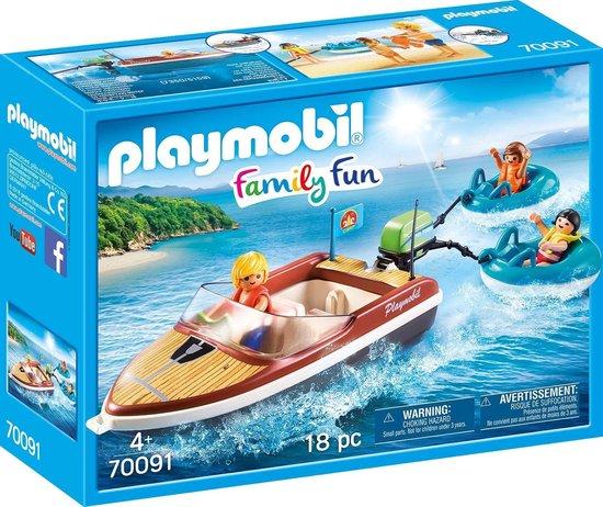 PLAYMOBIL Family Fun Motorboot met funtubes - 70091