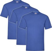 3 Pack - Fruit of The Loom - Shirts - Kids - Ronde Hals - Maat 152 - Royal
