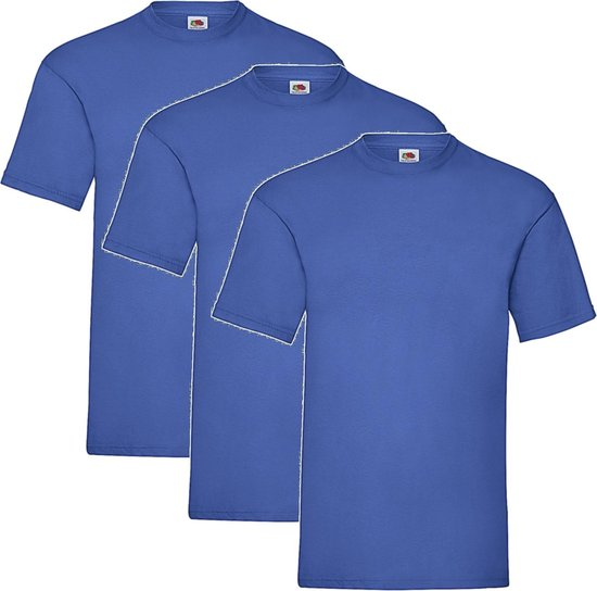 3 Pack - Fruit of The Loom - Shirts - Kids - Ronde Hals - Maat 152 - Royal
