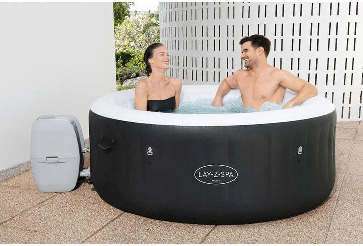 Bestway: Lay Z Spa Bahamas Airjet - Opblaasbare jacuzzi - 4 persoons bubbelbad - Hot tub met filter - Bubbeljet massage bad - vier persoons jacuzzi - Rond bubbelbad