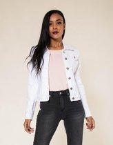 Jeans jasje, spijkerjasje kort model, J-212 kleur wit, maat XL  ( maten S t/m XXL), ook verkrijgbaar in mint, jeans (denim) en rood.