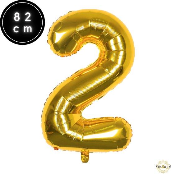Cijfer Ballonnen - Cijfer Ballon Goud - Cijfer 2 Ballon - 82 cm Hoog - Ballonnen Verjaardag - Feestversiering - 21 Jaar - 25 Jaar - Fienosa