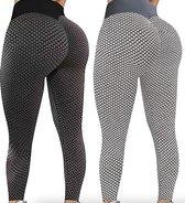 Sportlegging dames 2STUKS Small – legging dames meisje - Tiktok legging – zwart & grijs