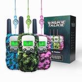 5. M.Y.© Premium Walkie Talkie Voor Kinderen en Volwassenen 3-PACK – Portofoon Tot 5 KM Bereik  – Gratis Koordjes - Camouflage Mix