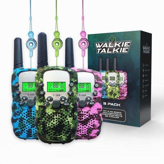 M.Y.© Premium Walkie Talkie Voor Kinderen en Volwassenen 3-PACK – Portofoon Tot 5 KM Bereik – Gratis Koordjes - Camouflage Mix