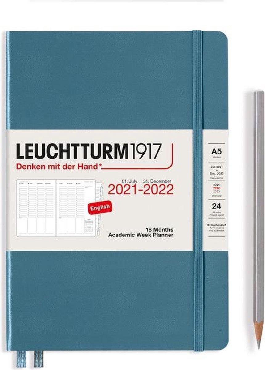 Leuchtturm - Agenda en Notities - 2021-2022 - Academische weekplanner - 18 maanden - A5 - 14,5 x 21 cm - Hardcover - Blauw-Grijs