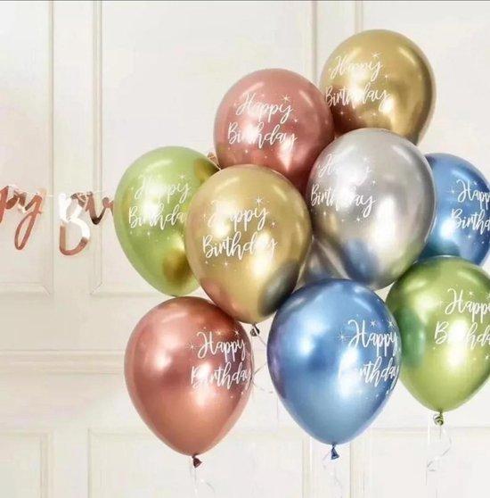 """LOHECO® Ballonnen-15 stuks  Latex Ballonnen met Opdruk """"Happy Birthday""""  - Gratis Ballonnen Slinger - Verjaardag - Feesten en Partijen"""