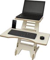 Sta bureau - XL toetsenbord blad - Zit sta verhoger - Van Aaken Design - Berken Multiplex wit