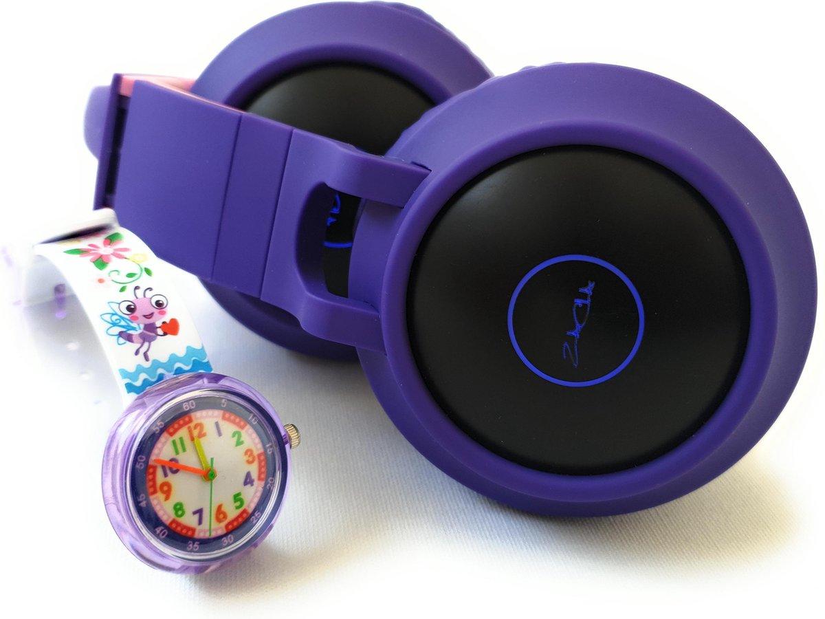 ZaCia Bluetooth Draadloze On-Ear Koptelefoon voor Kinderen Paars Incl. educatief kinderhorloge – Kattenoortjes – Kinder Hoofdtelefoon – Microfoon – HiFi Stereo Audio – Handsfree – Gehoorbescherming – Schakelbare LED-verlichting – Noise Cancelling