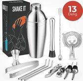 KitchenBrothers 13 Delige RVS Cocktail Shaker Set - Cadeauverpakking - Inclusief Shaker - IJsstang - Zeef - Lepel - Jigger/Maatbeker - Roerstaat - Drinkrietjes - Schenktuit - Flessenstop - Flesopener - 750 ML