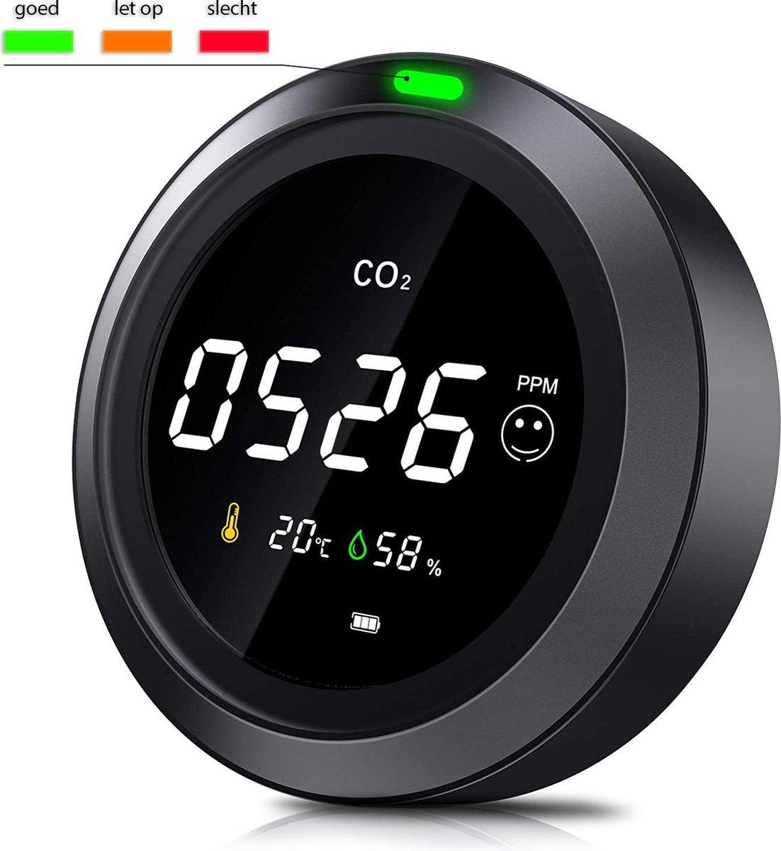 CO2 meter - CO2 melder - CO2 monitor - Hygrometer - Luchtvochtigheidsmeter - Oplaadbaar, draagbaar e