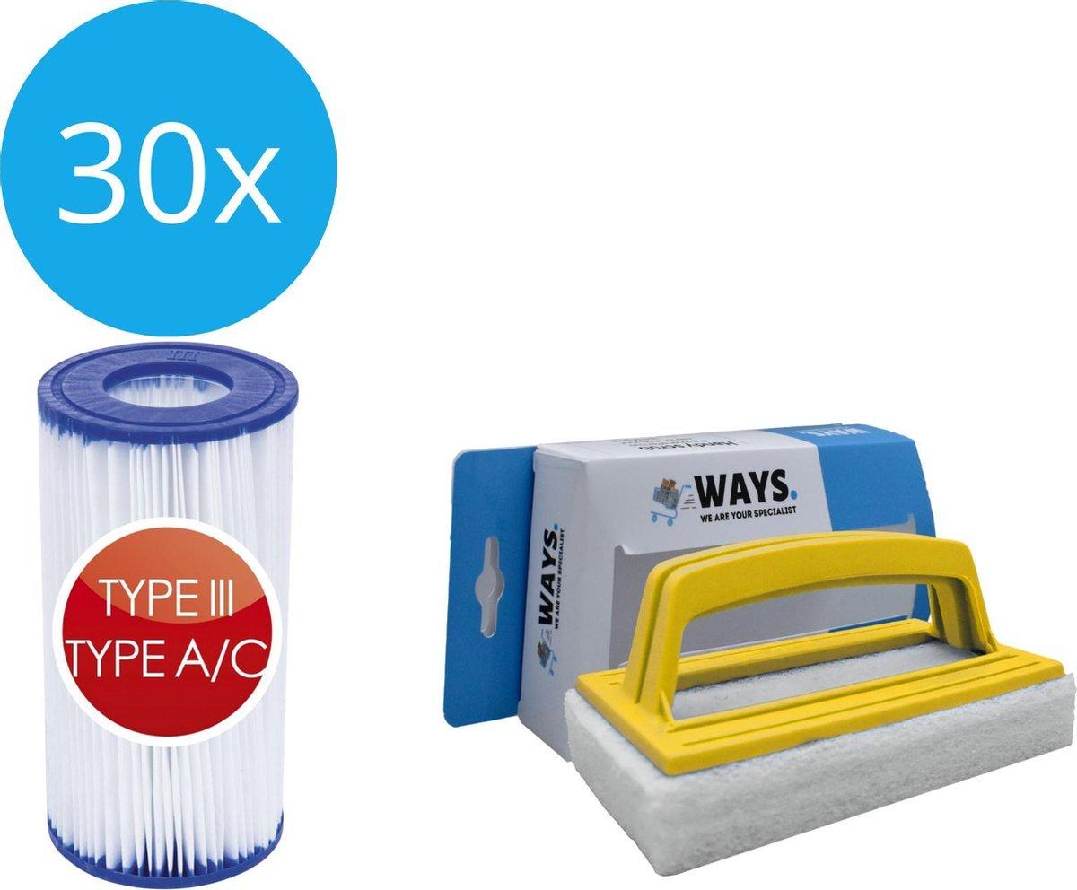 Bestway - Type III filters geschikt voor filterpomp 58389 - 30 stuks & WAYS scrubborstel