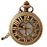 Ketting Horloge- brons -cijfers- opengewerkt-Charme Bijoux
