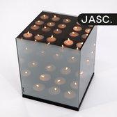 JASC®️ Waxinelichthouder Spiegelglas met Infinity Effect - Theelichthouder - Rookglas - Theelichthouder - Kaarsenhouder - 18x18x21