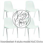 Voordeelset 4 stuks KoC Elvira wit met verchroomd onderstel. kantinestoel stapelstoel kuipstoel vergaderstoel tuinstoel kantine stapel stoel kantinestoelen stapelstoelen kuipstoelen arenastoel kerkstoel bistrostoel schoolstoel bezoekersstoel