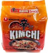 Nongshim Spicy Kimchi Ramen - Instant Pittige Kimchi Taste Noedels - Hot Pikante Noedels (5 stuks x120g)