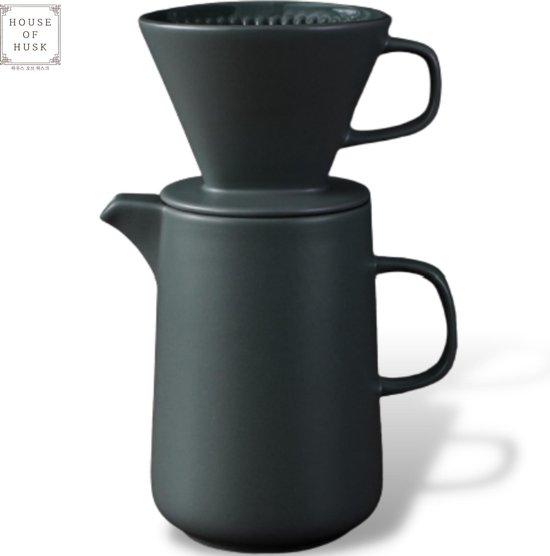 House of Husk™ - Slow Coffee - 0.6L - Koffiefilter - Coffeemaker - Koffiefilterhouder met Koffiekan en Deksel - Cafetière - Pour Over - Grijs Groen