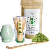 Matcha Thee Set | Biologische Premium Matcha Poeder|Matcha Whisk |Bamboe Whisk + Keramische Houder | Matcha scoop