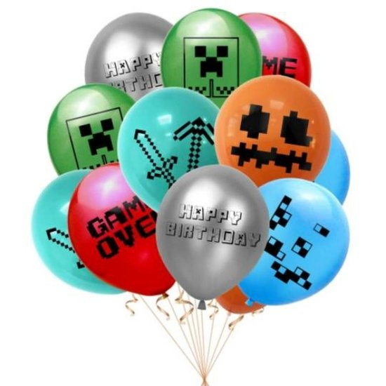 Minecraft-Happy Birthday-Ballon-Latex-set- 12 stuks