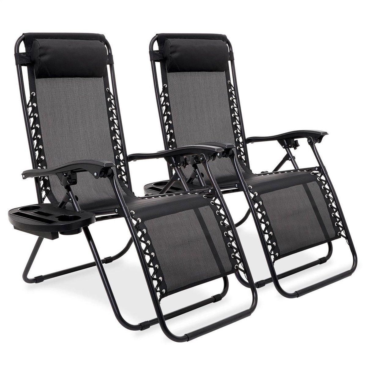 LifeGoods Opvouwbare Ligstoelen - Tuinstoelen - 2 Stuks - 30 -90  Verstelbaar - Zijtafel en Hoofdkus