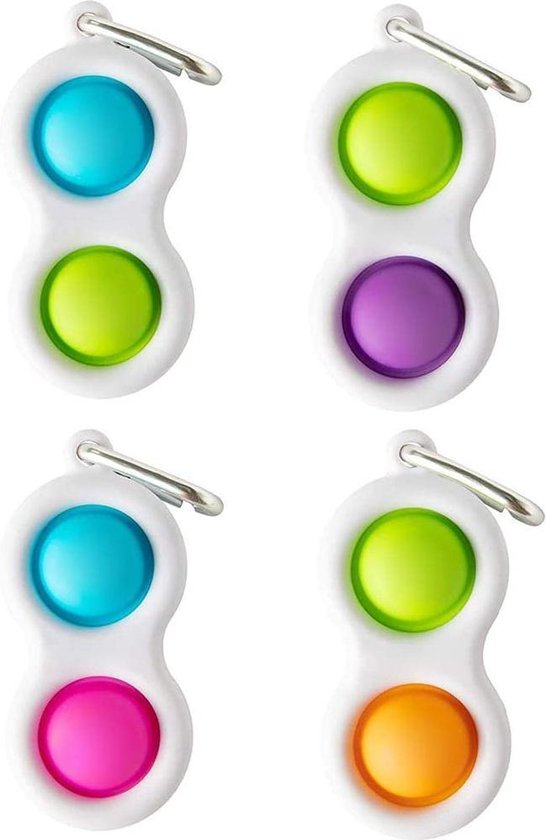 Simple Dimple - Fidget Toys - Pop It Fidget Toy - Sleutelhanger - Blauw - Roze - Merkloos