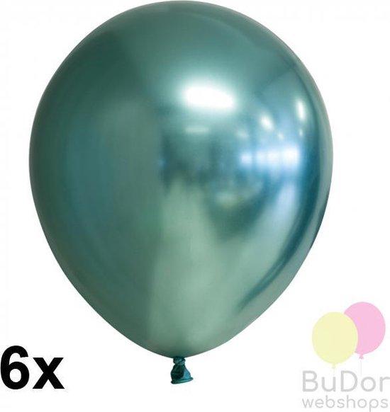 Chrome ballonnen, groen, 6 stuks, 30 cm