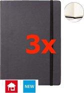 Notitieboek A4 zwart met harde kaft en elastiek - 3 stuks