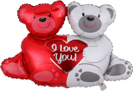 I Love You Ballon - Beren Ballon - XL Groot 10 x0 96 cm - Inclusief Opblaasrietje - Ballonnen - Ballonnen Verjaardag - Helium Ballonnen - Folieballon - Rood & Wit