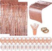 Partizzle® Rose Goud Versiering Feestartikelen - Verjaardag Bruiloft Feest - Backdrop Confetti Ballonnen Decoratie - Man Vrouw