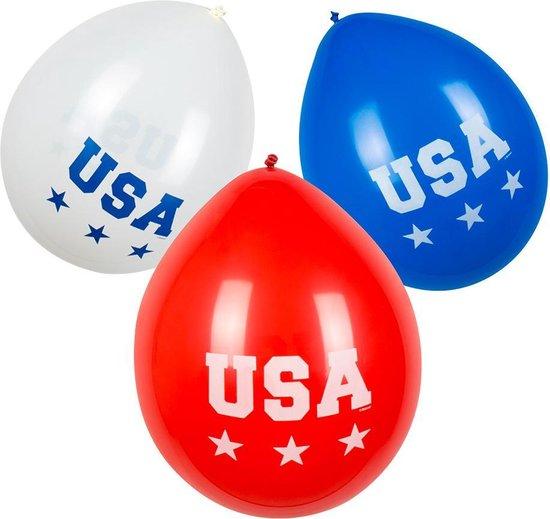 Boland - Decoratie/Feestversiering - USA themafeest ballonnen - 6 stuks, 25 cm, Amerika versiering