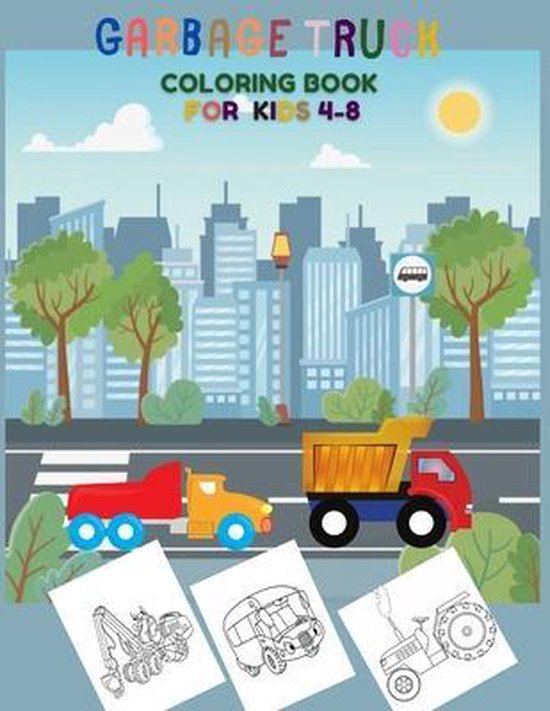 garbage truck coloring book for kids 4-8
