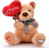 Teddybeer - Knuffelbeer- Knuffel - I Love You beer - Liefdesbeer - 20cm - Pluche - Bruin