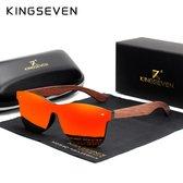 KingSeven Zonnebril Heren - Bamboe - Oranje - Polarisatie Filter - UV400