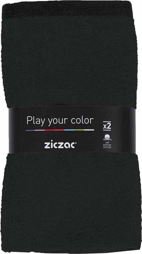 Ziczac Uni Keukendoeken Handdoeken - Katoen - Set 2 Stuks - Zwart