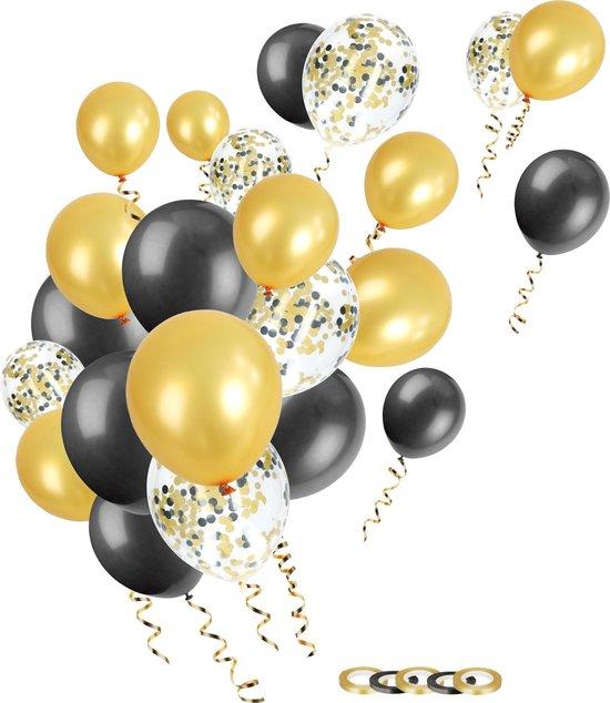 Partizzle® 50x Zwart Goud Confetti en Helium Feest Ballonnen Versiering - Geslaagd Verjaardag Bruiloft Ballonnenboog Maken - Latex