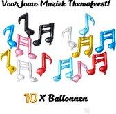 Muzieknoten Ballonnen - 10 Stuks - Kleurrijk - Muziek Themafeest - Folieballonnen - Ballonnen Verjaardag