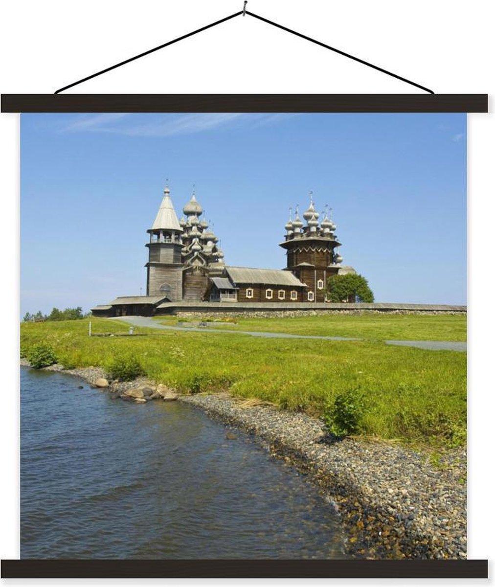 Russisch eiland Kizji naast Onegameer bij de tempel Kizji textielposter latten zwart 40x40 cm - Foto print op schoolplaat (wanddecoratie woonkamer/slaapkamer)