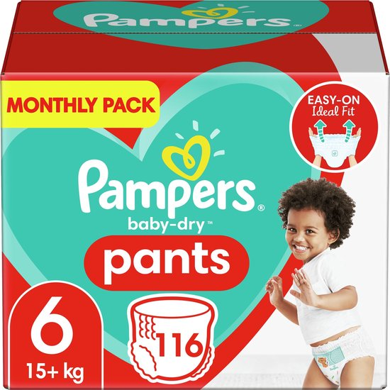 Afbeelding van Pampers Baby-Dry Pants Luierbroekjes - Maat 6 (15+ kg) - 116 stuks - Maandbox