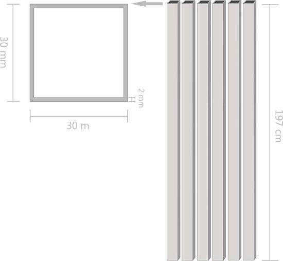 vidaXL Kokerbuizen vierkant 2m 30x30x2 mm aluminium 6 st  VDXL_143172